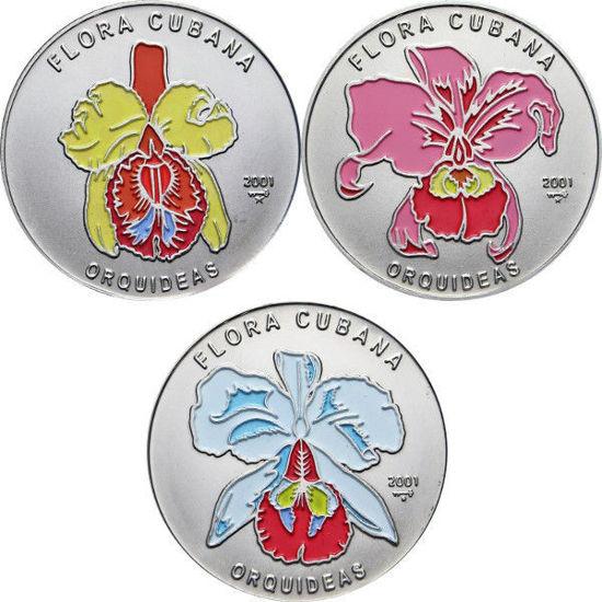 """Picture of Куба 1 песо 2001, Набор из 3 монет """"Орхидеи """"Серия """"Флора Карибов"""""""