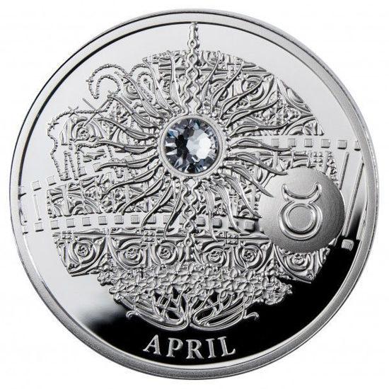 """Picture of Серебряная монета """"Апрель - Волшебный календарь счастья"""""""