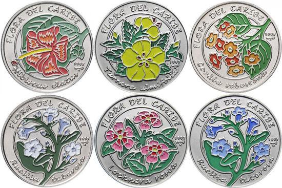 """Picture of Куба 1 песо 1997, Набір з 6 монет """"Квіти"""" Серія """"Флора Карибів"""""""