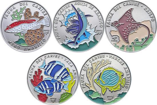 "Picture of Куба 1 песо 1994-1996, Набір з 5 монет ""Риби"" Серія ""Фауна Карибів"""