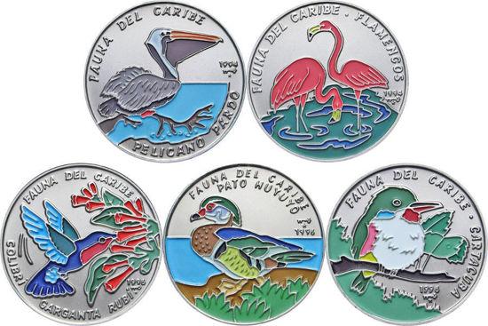 "Picture of Куба 1 песо 1994-1996, Набір з 5 монет ""Птахи"" Серія ""Фауна Карибів"""