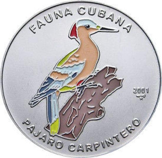 """Picture of Куба 1 песо 2001, """"Кубинский зелёный дятел """"Серия """"Фауна Карибов"""""""