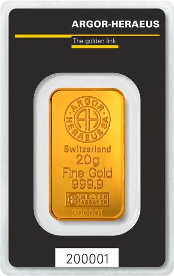 Picture of Золотий злиток 20 ГРАМ ARGOR-HERAEUS (новий)