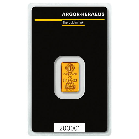 Picture of Золотий злиток 2 ГРАМА ARGOR-HERAEUS (новий)