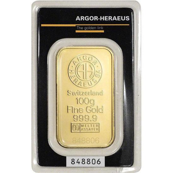 Picture of Золотий злиток 100 ГРАМ ARGOR-HERAEUS (новий)