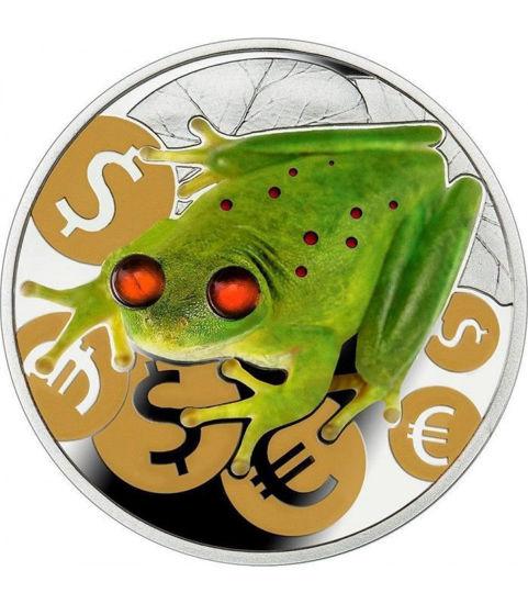 """Picture of Срібна кольорова монета """"Грошова жаба"""" з бурштиновими вставками Ніуе 2015"""