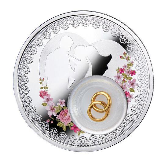 """Picture of Серебряная цветная монета """" Любовь и счастье""""   Свадебная монета"""