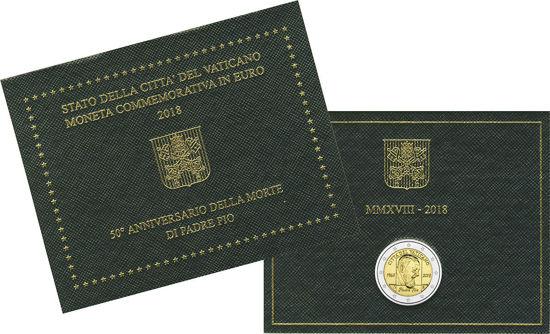 Picture of Ватикан 2 євро 2018, 50 років з дня смерті падре Піо