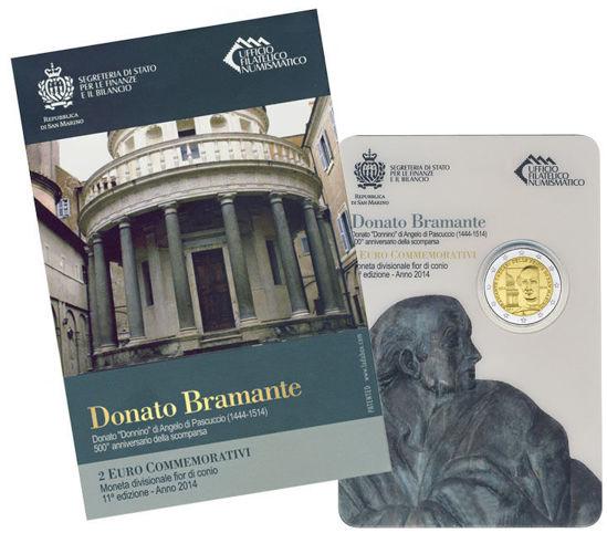 Picture of Сан-Марино 2 євро 2014 року, 500 років з дня смерті Донато Браманте