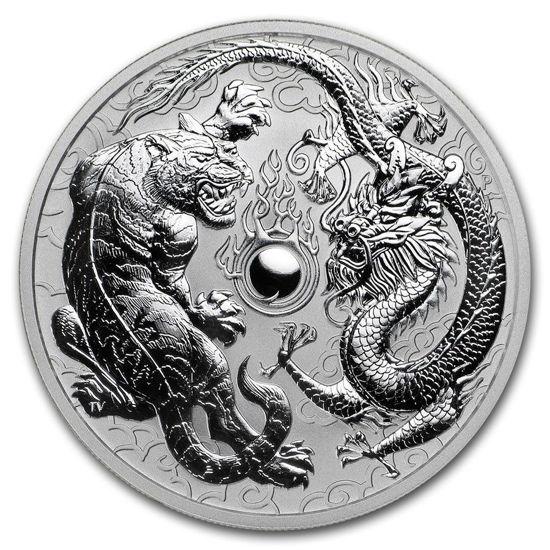 "Picture of Серебряная монета  ""Дракон и Тигр"" 31,1 грамм, Австралия 2018"