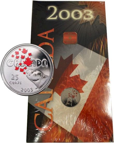 Picture of Канада 25 центів 2003 День Канади. Будинок і серце полярного ведмедя. У буклеті