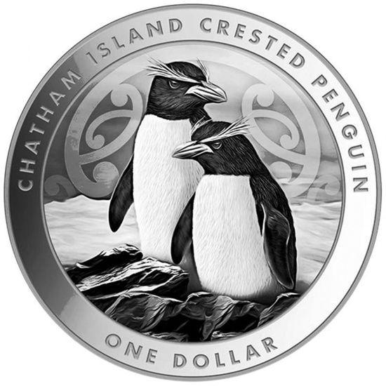 "Picture of Cеребряная  монета ""Хохлатый пингвин ""  31.1 грамм Новая Зеландия 2020"