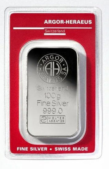 Picture of Срібний злиток 100 грам (новий) ARGOR-HERAEUS