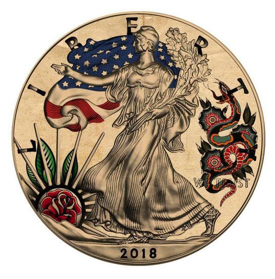 """Picture of Срібна монета """"Liberty - Американське традиційне татуювання"""" Змії і троянди """""""" 31.1 грам 2018 р."""