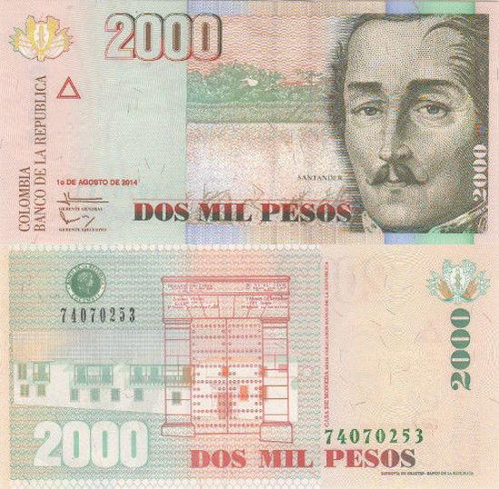Picture of Колумбія  2000 песо 2014 (Р457z)