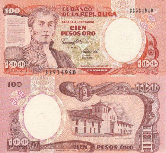 Picture of Колумбія 100 песо 1991 (P426е)