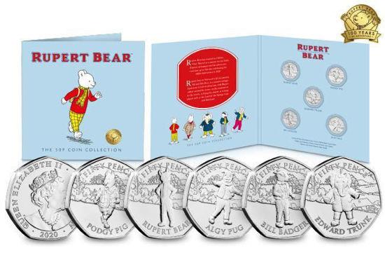 Picture of Остров Мэн 50 центов 2020, Набор 5 монет, 100 лет комиксам о медведе Руперте. В буклете