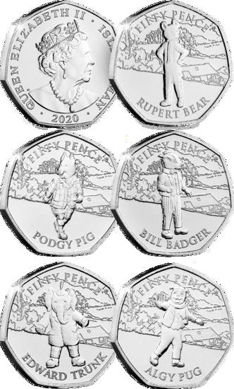 Picture of Острів Мен 50 центів 2020 року, Набір 5 монет, 100 років коміксами про ведмедя Руперті