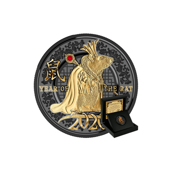 "Picture of Серебряная монета ""Год Мыши - Год успеха"" с кристаллом Swarovski 10 грамм 2020 г."