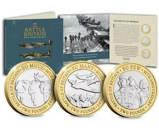 """Picture of Англія, Джерсі 2 фунта 2020 року, Набір з 3 монет """"Битва за Британію"""" (в буклеті)"""