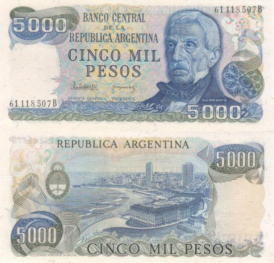 Picture of Аргентина 5000 песо 1977-1983 (Р-305b)