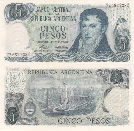 Picture of Аргентина 5 песо 1973-1976 (Р-294)