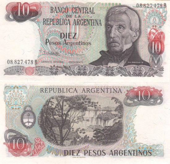 Picture of Аргентина 10 песо 1983-1984 (Р-313a)