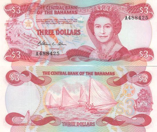Picture of Багамские острова 3 доллара 1984 (Р-44а)