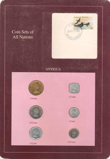"""Picture of Антигуа, Набір з 6 монет і 1 марки в буклеті 1981-1989, Серія """"Набори монет всіх країн світу"""""""