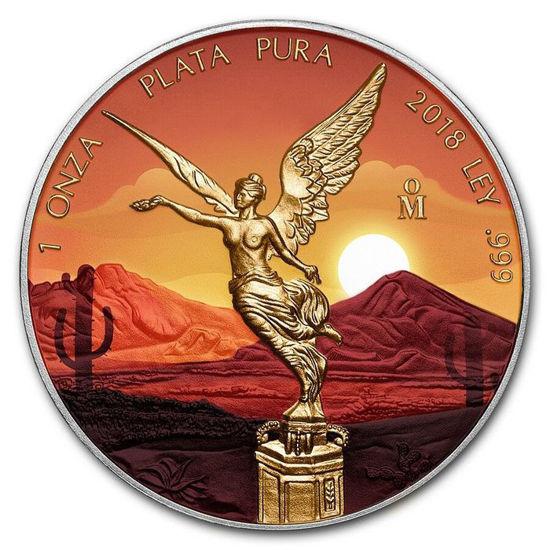 """Picture of  Срібна кольорова монета """"Мексиканський Лібертад"""" 2018 31,1 грам"""