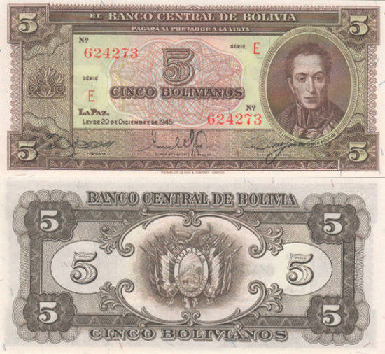 Picture of Болівія 5 Болівіано 1945 (Р-138а)