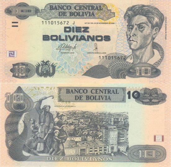 Picture of Болівія 10 болівіано  2015 (Р-243а)