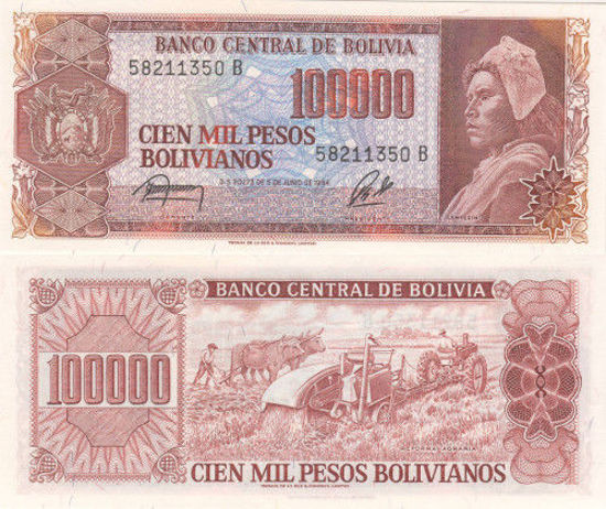 Picture of Боливия 100000 боливиан 1984 (Р-171а)