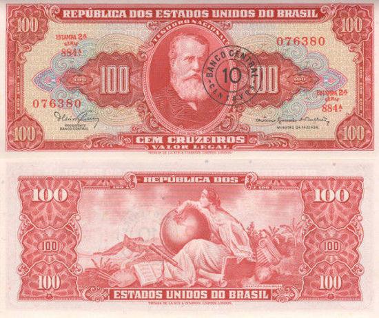 Picture of Бразилія 100 крузейро 1966 (з надпечатью 10 центаво)