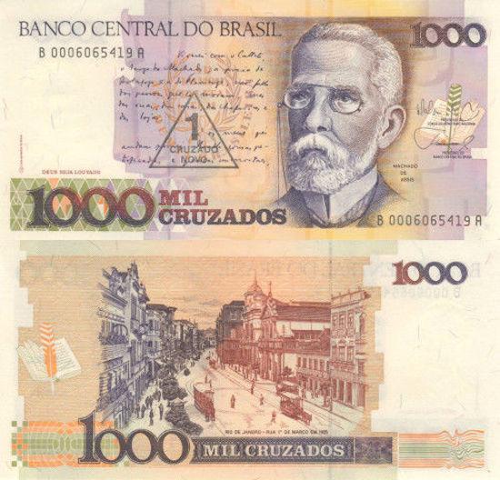Picture of Бразилія 1000 крузадо 1989 (зі штампом 1 новий крузадо)