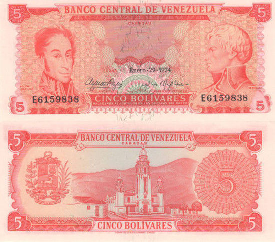 Picture of Венесуела 5 болівара 1974 (Р50h)