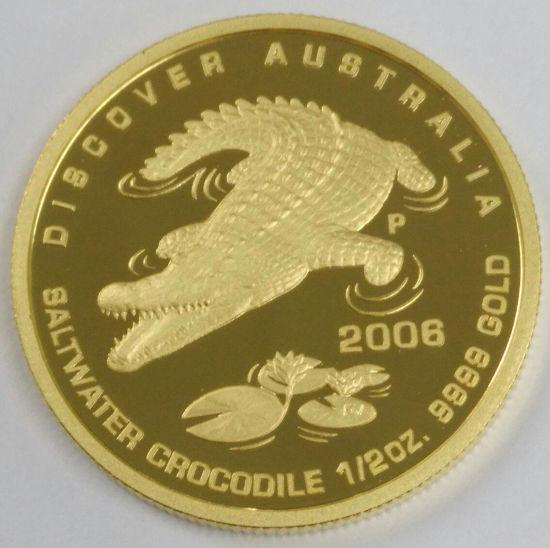 """Picture of  Золота монета """"Австралійський морський крокодил"""" 15.55 грам 2006р"""
