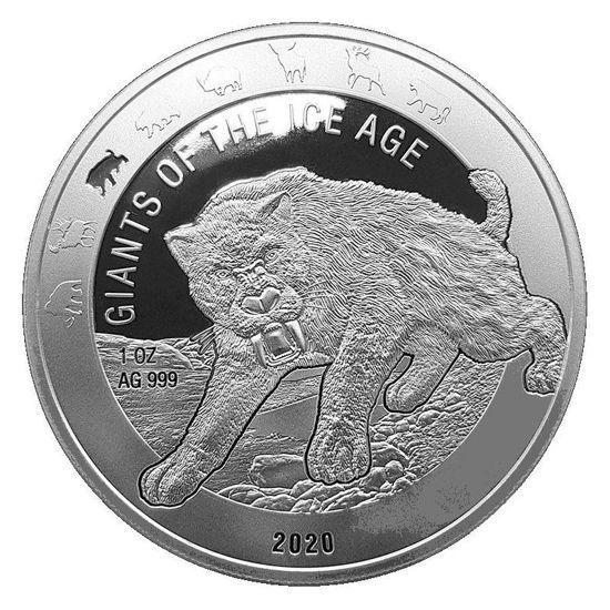 """Picture of Серия монет """"Гиганты Ледникового периода на Земле"""" Саблезубый тигр 31,1 грамм 2020"""