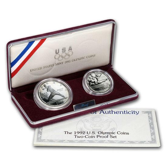 Picture of США Набір з 2 монет 1992 року, 1 долар і 1/2 долара. XXV олімпійські ігри в Барселоні. Срібло і нікель