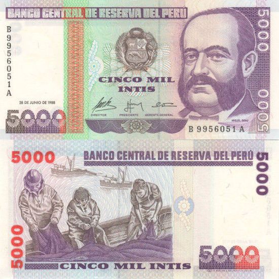 Picture of Перу 5000 инти  1988 (Р 137)