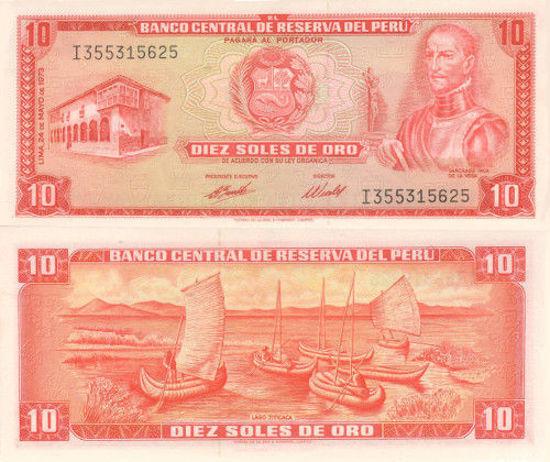 Picture of Перу 10 соль 1973 (Р 100c)