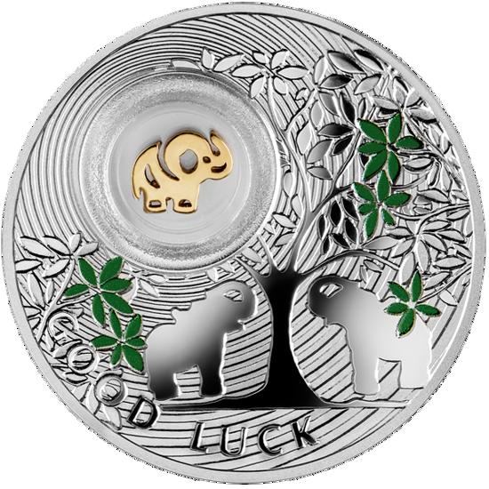 "Picture of Срібна монета СЛОНИК 2014  серії «Монети на щастя» з елементом покритим 24К золотом ""GOOD LUCK"""