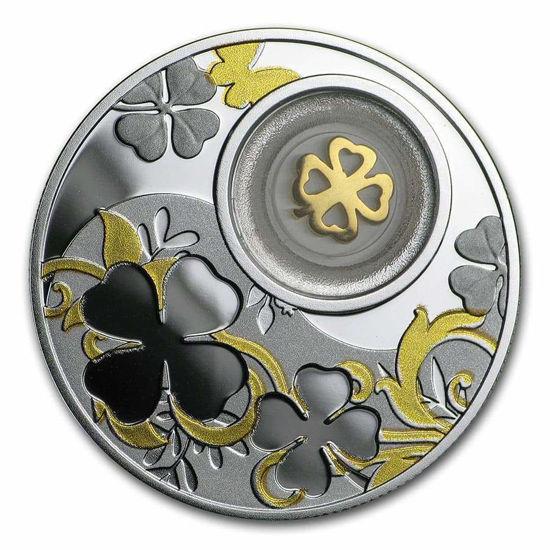 Picture of Срібна монета ЧОТИРИЛИСНИК 2020 серії «LUCKY COINS» c елементом покритим 24К золотом