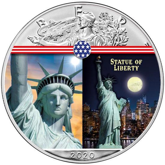 """Picture of  Срібна монета """"Американський орел - Liberty Статуя Свободи"""" США 2020"""