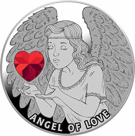 "Picture of  Срібна пам'ятна монета ""Ангел кохання"" з кристалом Swarovski 17,5 грам Ніуе 2020"