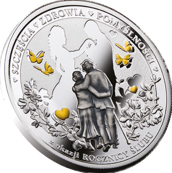 """Picture of Срібна монета з позолотою """"Річниця Весілля"""" 17,5 грам 2018 р."""