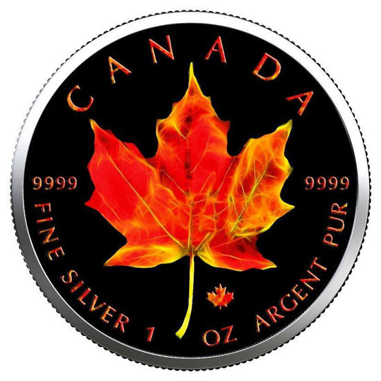 "Picture of Серебряная цветная монета ""Кленовый лист "" Канада 2019"