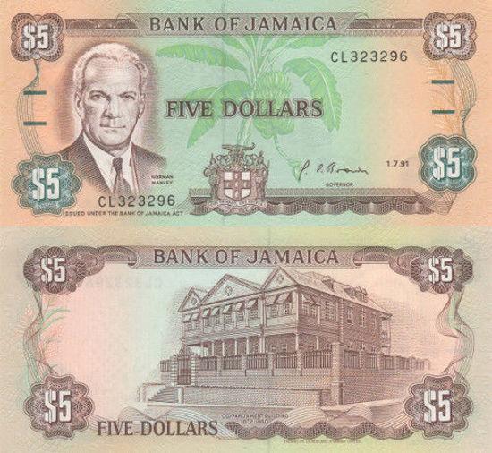 Picture of Ямайка 5 доларів 1991 (Р 70d)