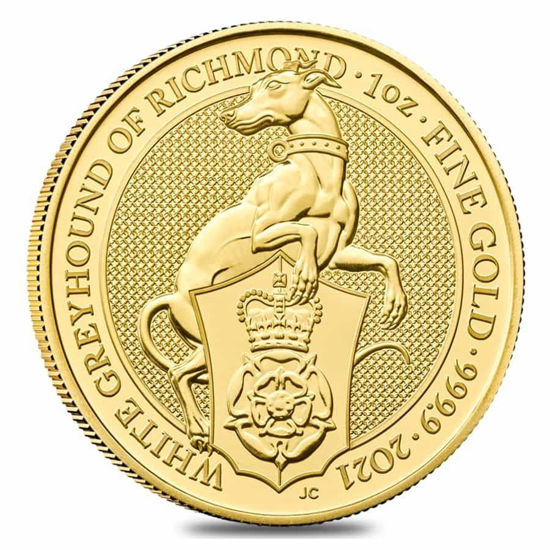 Picture of Серія Звірі Королеви Золото, «Біла хорта з Річмонда». 31.1 грам, White Greyhound of Richmond, Великобританія 2021