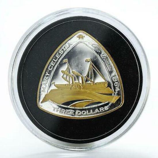 """Picture of Срібна монета з позолотою """"Бермуди - Корабельна аварія Мері Селеста"""" 33,63 грам 2006 р."""